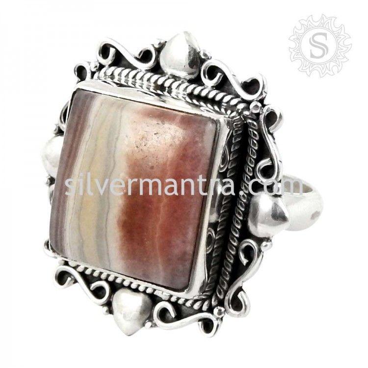 Big Delicate! Rhodochrosite 925 Sterling Silver Rings
