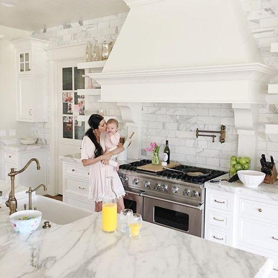 This Is A Gorgeous White Kitchen! The Marble Backsplash