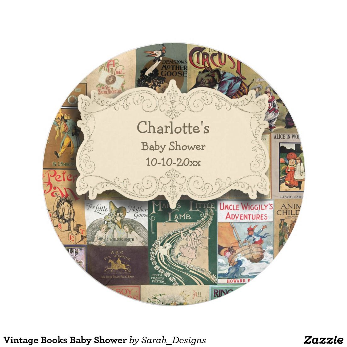 Vintage Books Baby Shower Paper Plate