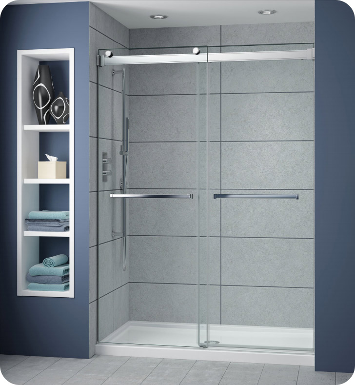 Fleurco Np160 25 40 Gemini Plus Frameless Bypass 60 Sliding Shower Doors With Hardware Finish Brushed Nickel And Glass Type Clear Glass And Microtek Glass Pro Frameless Sliding Shower Doors Shower Doors Sliding