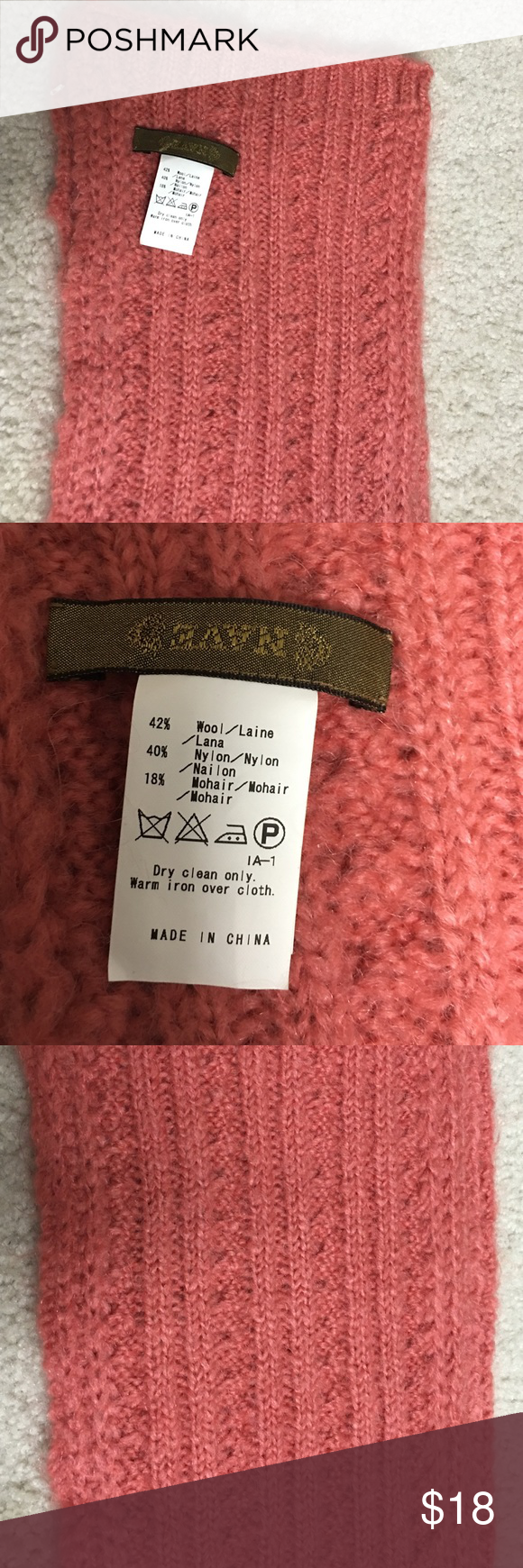 "Brand new Nave pink scarf without tag!!! Brand new!!!! Nave Pink long scarf 7""Wx88""L 42% wool 40% nylon 18% mohair Dry clean only nave Accessories Scarves & Wraps"