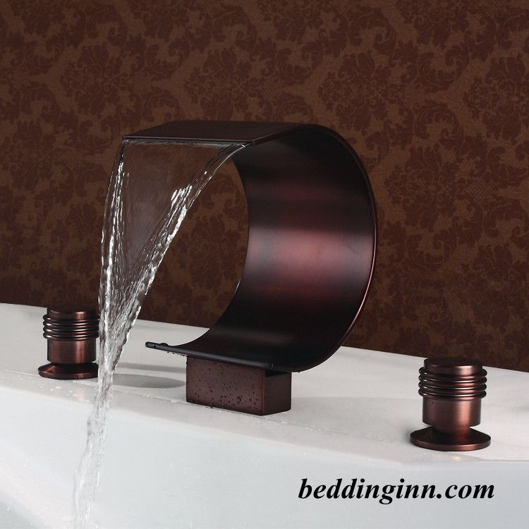 Oil-rubbed Bronze Widespread Double Handles Waterfall Faucet ...