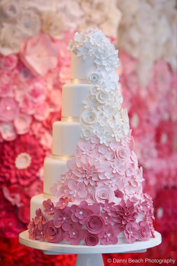 Beautiful Cake Pictures Cascading Pink Ombre Flowers On Wedding Cakes With