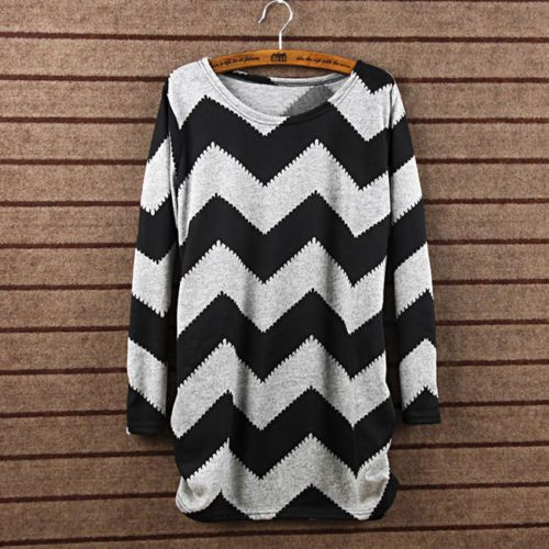 Hot New Women Stripes Crewneck Long Sleeve Casual Loose Sweater Knitted Tops E