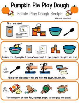 Pumpkin Play Dough Visual Recipe | Preschool cooking, Diy ...