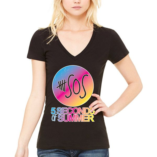 8265f2db Rainbow Sos 5 Seconds of Summer Woman v Neck Shirt ($9.99) ❤ liked on  Polyvore featuring tops, t-shirts, black, women's clothing, rainbow t shirt,  ...