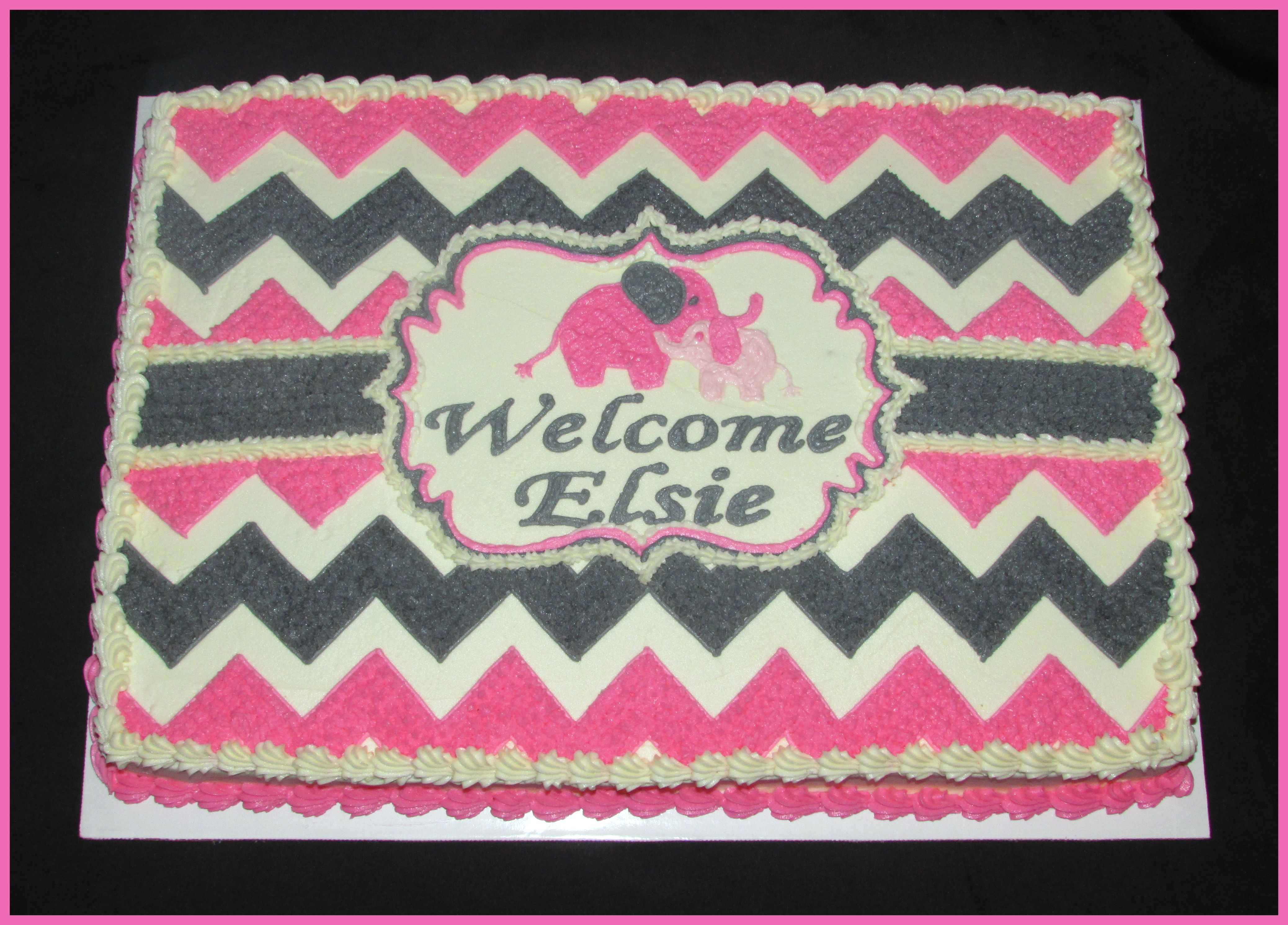 Pink And Gray / Chevron / Baby Elephants / Girlu0027s Baby Shower Cake    Buttercream Icing Only Here! This Is On A Sheet Cake.