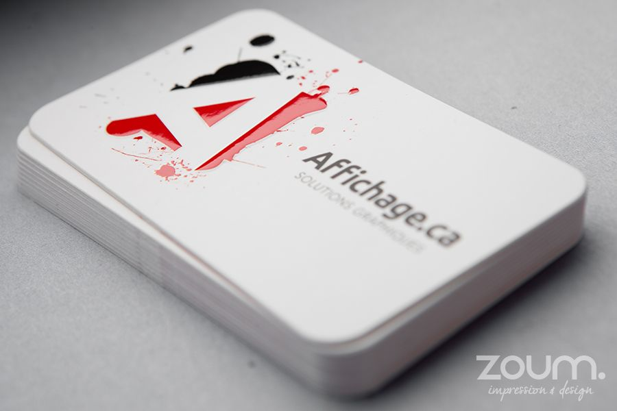 Ultra-thick 32pt cards with spot UV, embossing and die cutting on ...