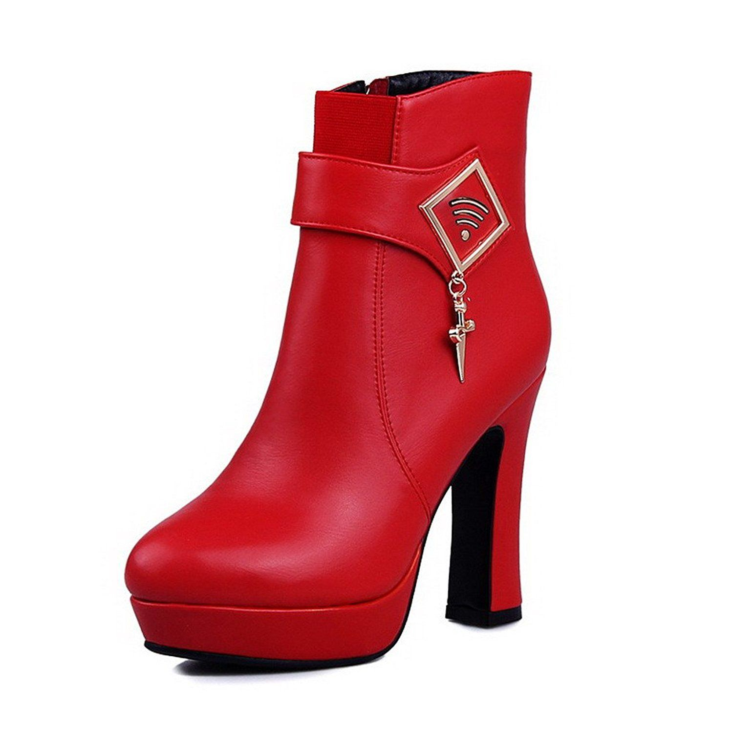 Women's High-Heels Pointed Closed Toe Imitated Suede Low-Top Solid Zipper Boots Red-Chains 44