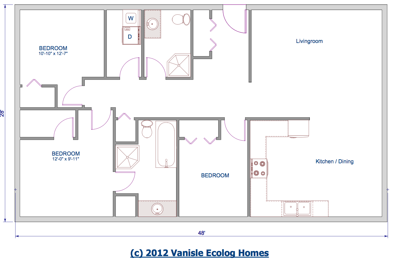 One level floor plans 3 bed floor plan 1344 sqft 28 39 x48 for One level house plans
