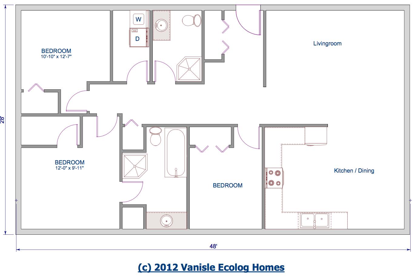 One Level Floor Plans 3 Bed Floor Plan 1344 Sqft 28 X48