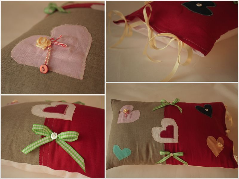Upcycled Linen Tea Pillow for Valentine's day - www.facebook.com/EmbroideredFlaxBedLinen