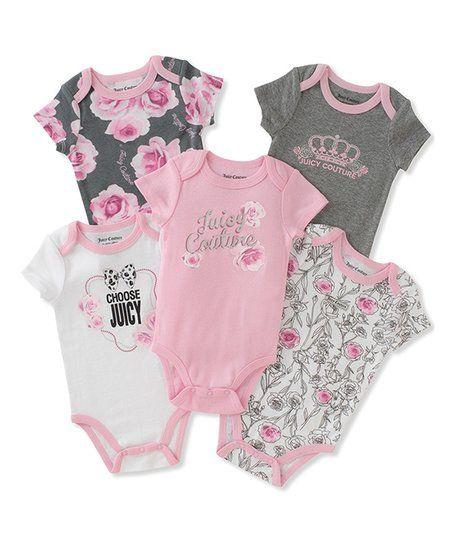 Juicy Couture Pink Flower Accent Juicy Bodysuit Set Infant Zulily Roupas Fofas De Bebe Roupas Femininas Para Bebe Moda De Bebe Menino