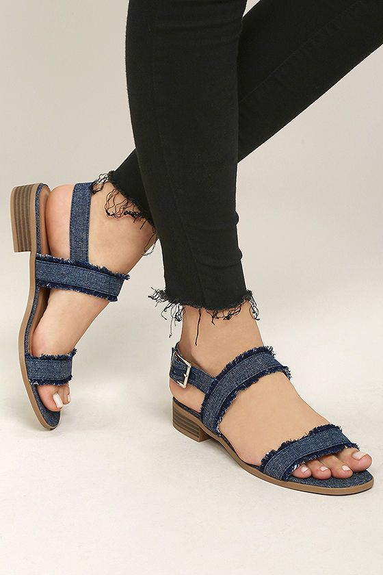 ebf8e37da81 Elin Dark Blue Denim Heeled Sandals. Ankle Strap ...