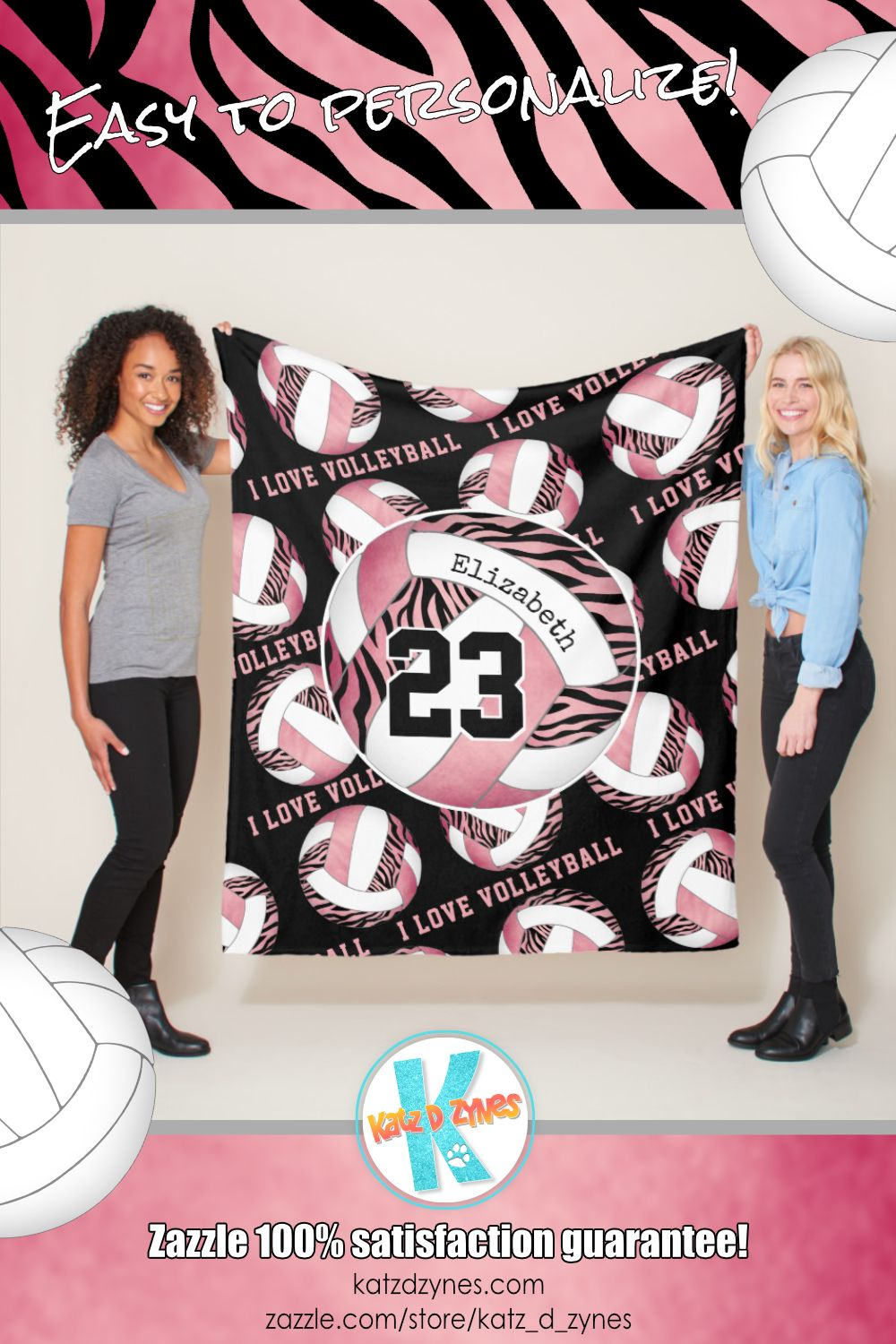 Zebra Stripes W Girly Pink Personalized Volleyball Fleece Blanket Zazzle Com Volleyball Fleece Personalised Fleece Blanket Fleece Blanket