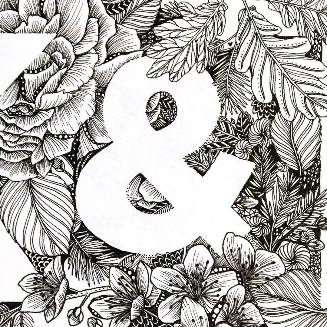 Blossoms Amp Oak Tree Leaves With Ampersand Negative Space Tiny Monochrome Pattern By Maggie