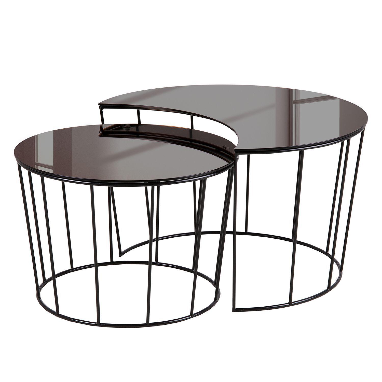 couchtisch koga ii 2 teilig glas metall bronze. Black Bedroom Furniture Sets. Home Design Ideas