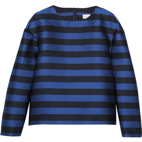 Striped taffeta top (1.085 NOK) ❤ liked on Polyvore featuring tops, blouses, shirts, blue striped shirt, blue stripe shirt, striped blouse, striped top and blue stripe blouse