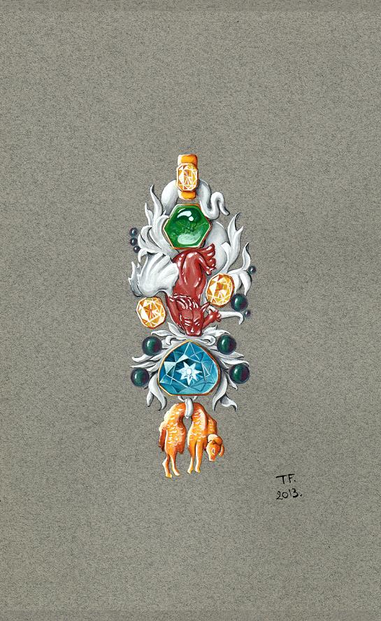Tony FURION : Broche ''Toison D'or '' joaillerie gouaché - dessin bijoux jewellery rendering