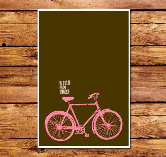 Bike Or Die Brown Poster Bike Poster Bike Art Bike