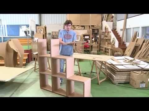 Escritorio de cartón apariencia de Madera DIY Tocador   Muebles de cartón DecoAndCrafts - YouTube