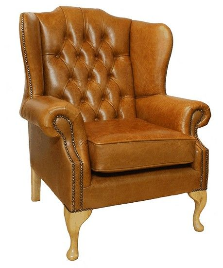Chesterfield Gladstone Queen Anne High Back Wing Chair Uk
