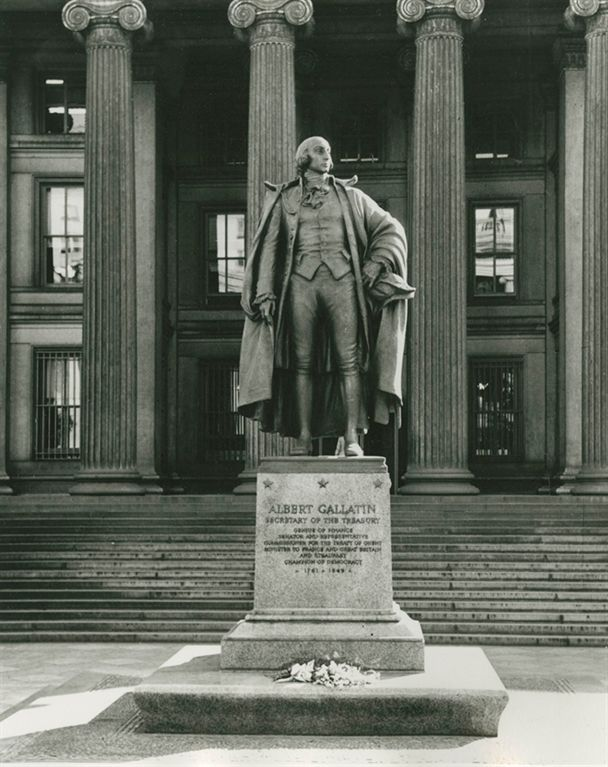 This Albert Gallatin statue is located outside of the US