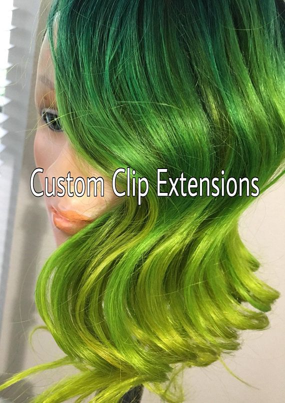 Green And Yellow Custom Clip In Hair Extensions Green Extensions