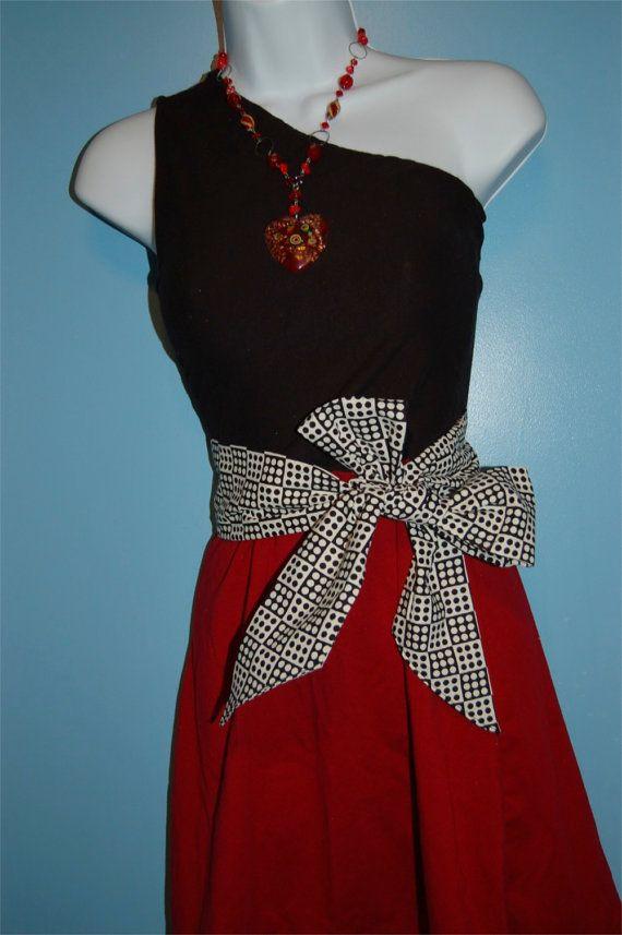 One Shoulder Garnet and Black Dress with Polka by GameDayDresses, $79.00