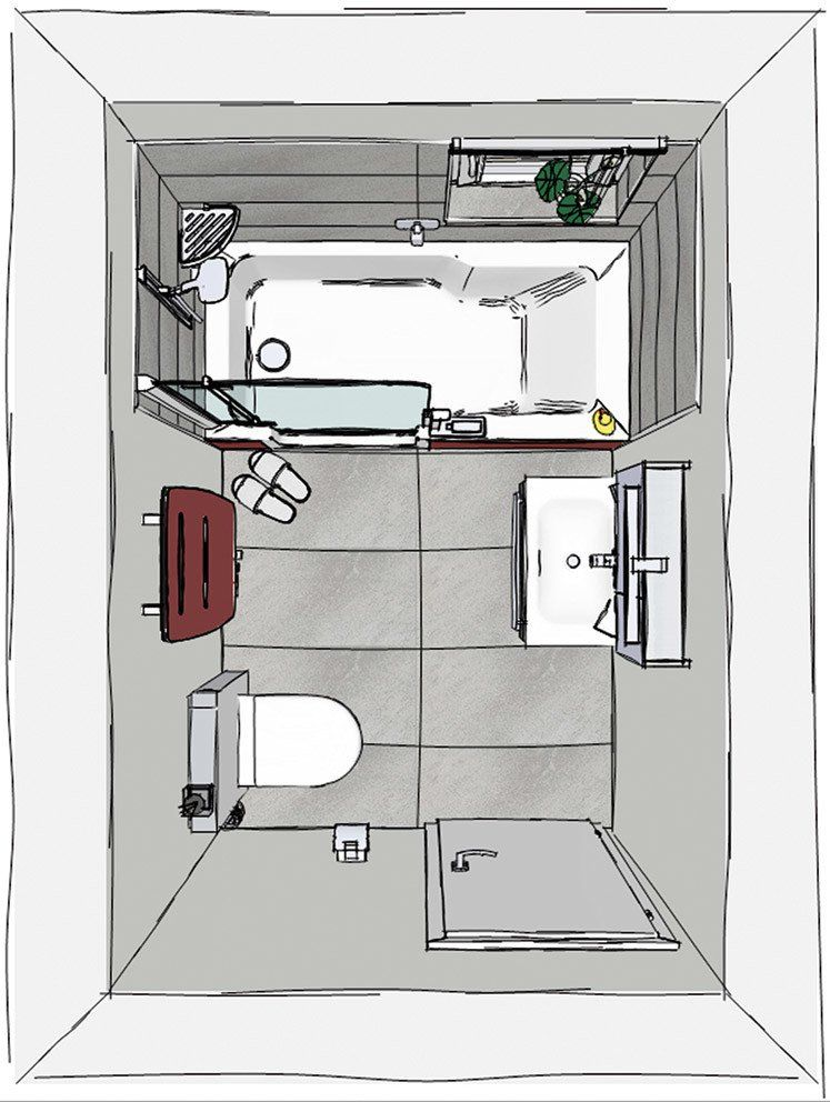 Grundriss kleines Bad mit TWINLINE | © Artweger GmbH. & Co. KG ...