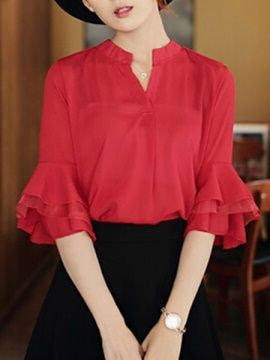 Solid Color Flare Sleeve Blouse