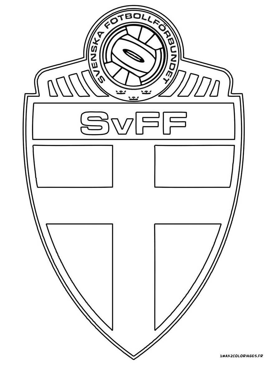 Coloriage du logo de l équipe de Su¨de qualifiée pour l euro 2016 de football groupe E Belgique Italie République d Irlande Su¨de