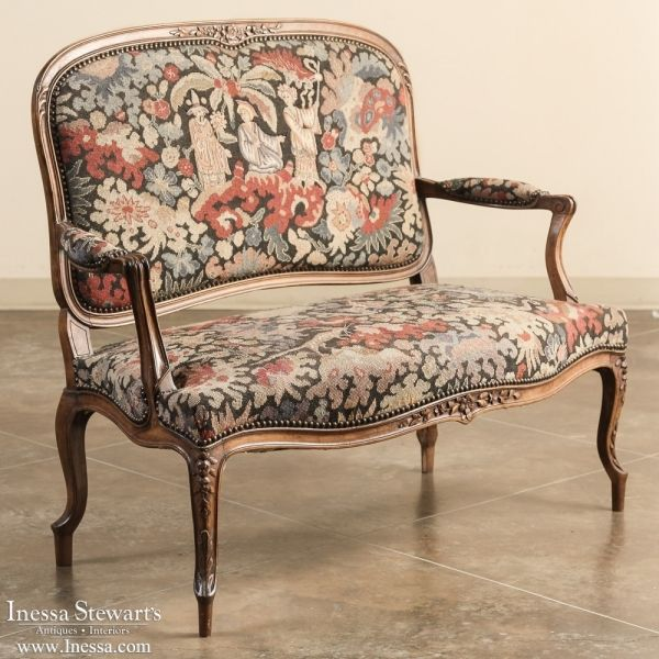 Antique Tapestry Sofa: Antique 19th Century French Louis XV