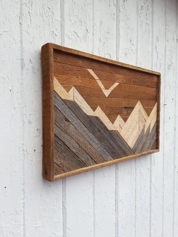 Reclaimed Wood Wall Art Mountains Decor Lath Art Lath Art Reclaimed Wood Wall Art Wood Wall Art Diy