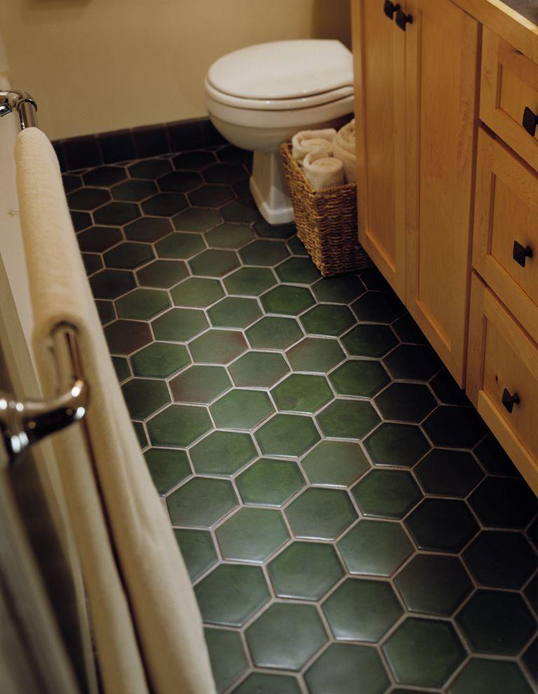 Hexagon Floor Green Tile Bathroom Dark Green Bathrooms Tile Floor