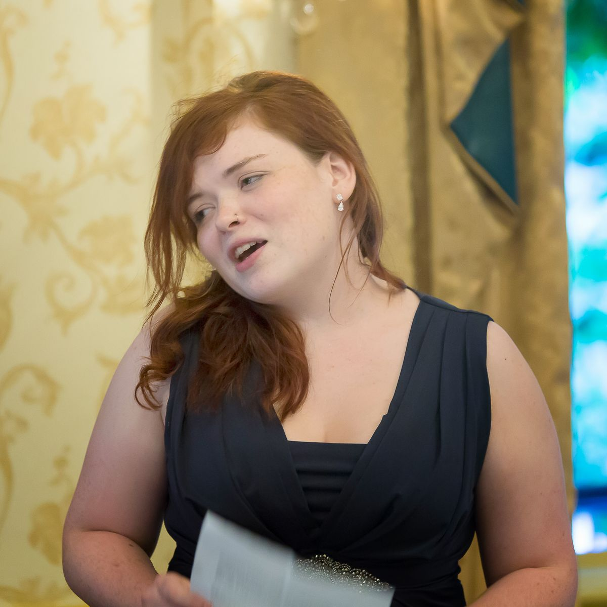 The Best Woman Makes Her Speech During A Wedding Breakfast Held In Pavilion