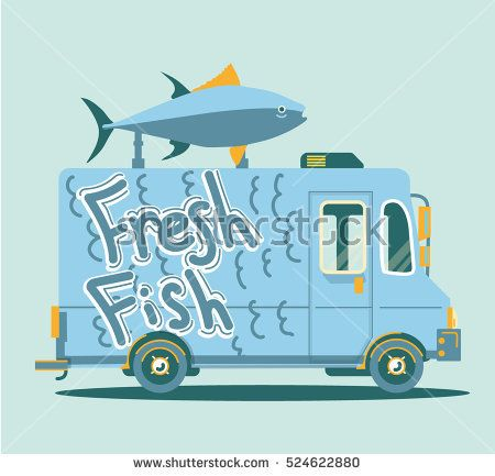 Vector Retro Truck Illustration With Big Fish Asia Automobile