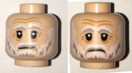 NEW Lego Male LIGHT FLESH MINIFIG HEAD w//Gray Minifigure Beard Moustache Hair