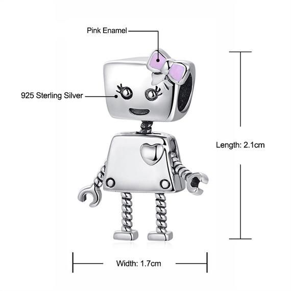 82a71e58e Sterling 925 silver charm Bella Bot Charm, Girl Robot Charm 1 bead fits  Pandora charm and European c