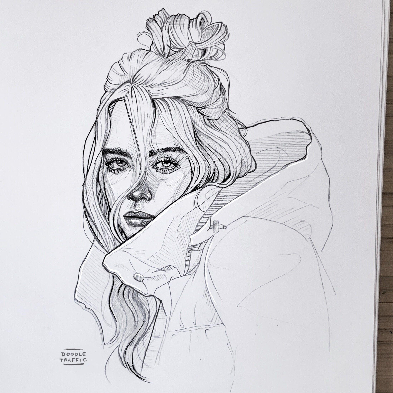 billie eilish sketch | art drawings sketches simple