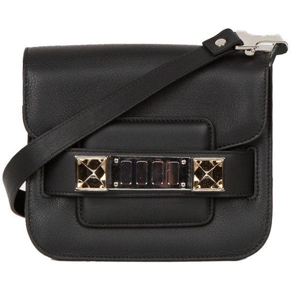 Proenza Schouler PS11 Tiny Smooth Leather Bag ($1,255) ❤ liked on Polyvore featuring bags, handbags, purses, bolsos, black, black structured handbag, black handbags, black structured bag, proenza schouler purse and proenza schouler bag