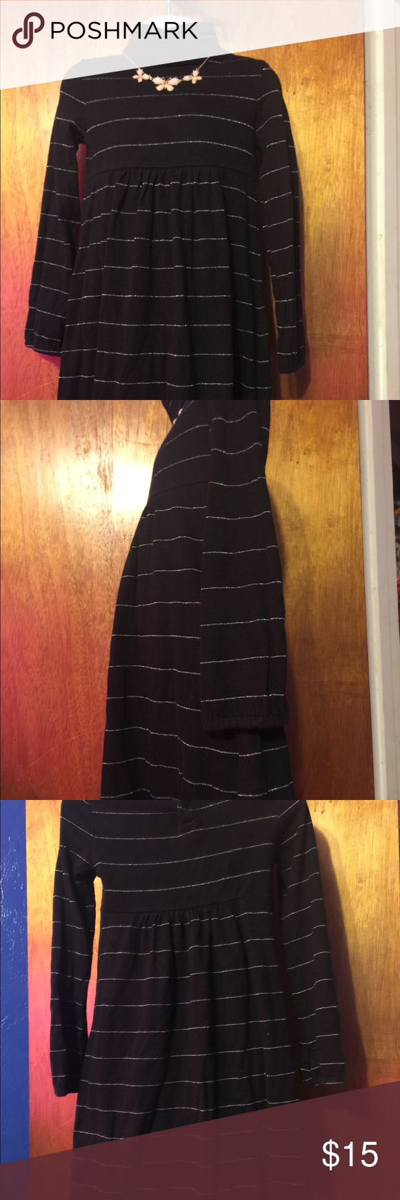 Black Silver Striped Turtleneck Babydoll Dress 5t Girls Maxi Dresses Babydoll Dress Floral Cotton Dress [ 1740 x 580 Pixel ]