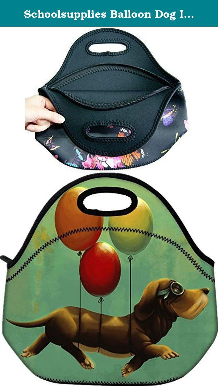 5049e7501700 Schoolsupplies Balloon Dog Insulated Neoprene Lunch Bag Tote Ha ...