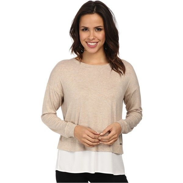 Calvin Klein L/S Top w/ Crepe De Chine Bottom Women's Clothing, Beige ($50) ❤ liked on Polyvore featuring tops, beige, long sleeve tops, slimming tops, long sleeve pullover, beige top and calvin klein tops