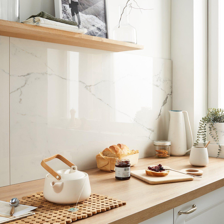Belle cr dence en carrelage effet marbre blanc brillant - Credence adhesive cuisine leroy merlin ...