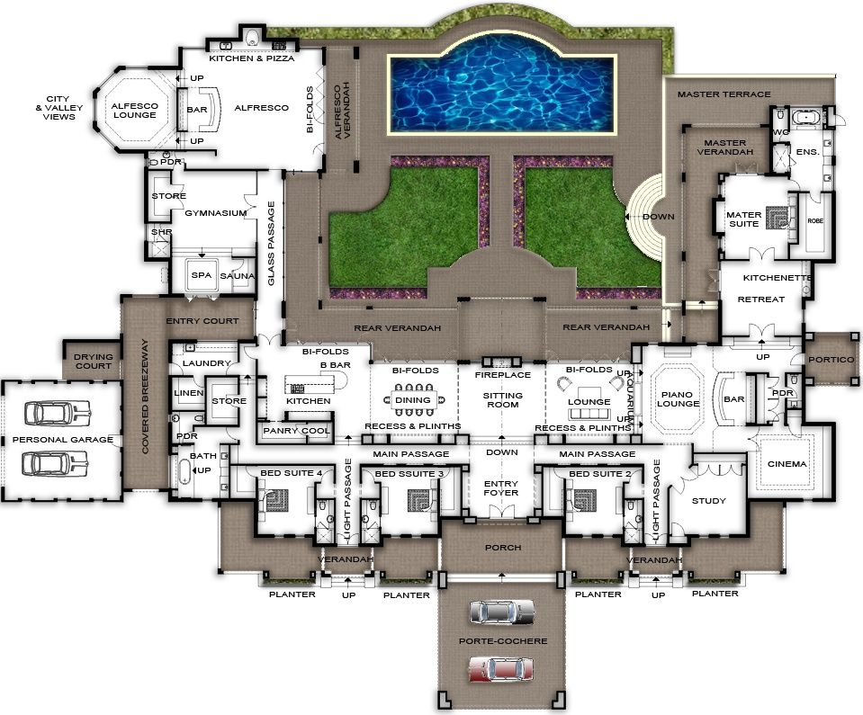 Split level home design plans perth view plans of this for Huge house floor plans