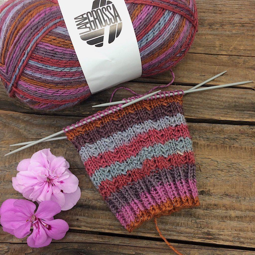 Photo of LANA GROSSA GLAMY CHARADE sock pattern