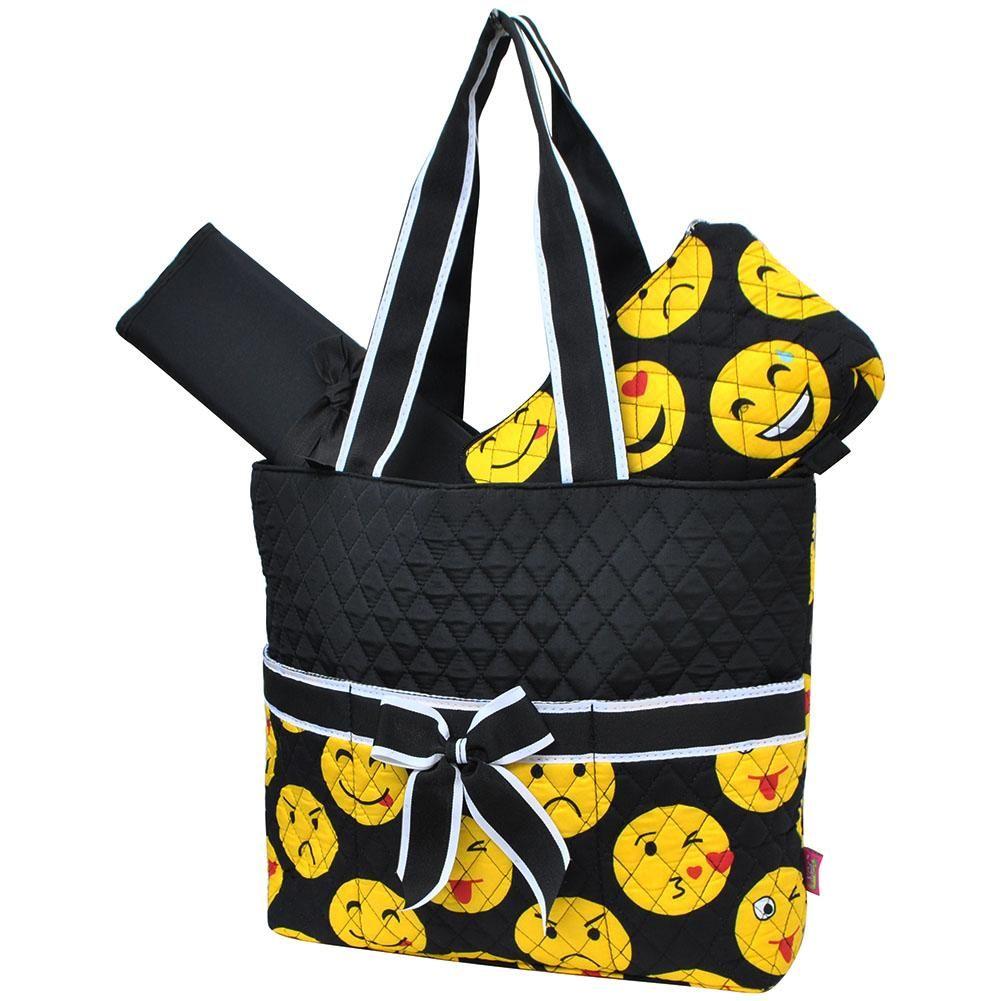 Emoji Print Quilted 3pcs Diaper Bag-Blk