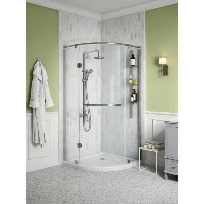Glacier Bay Glamour 36 In X 73 90 In Semi Frameless Pivot Shower