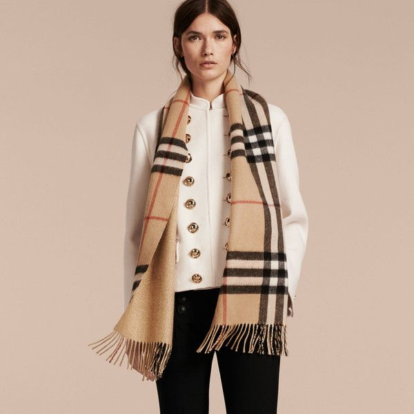 7ad9f57f8b Burberry Reversible Metallic Check Cashmere Scarf ($590) ❤ liked on  Polyvore featuring accessories, scarves, checkered scarves, fringe scarves,  metallic ...